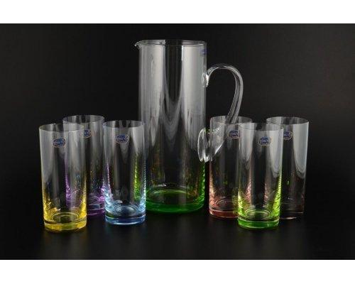 Набор для воды Богемия Кристал (Bohemia Crystal) 7 предметов цветной