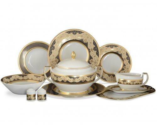Столовый сервиз на 6 персон 27 предметов Falkenporzellan Belvedere Combi BLACK Gold