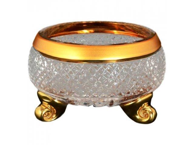 Ваза для конфет тройножка 11 см Max Crystal Золото Bohemia (Богемия)