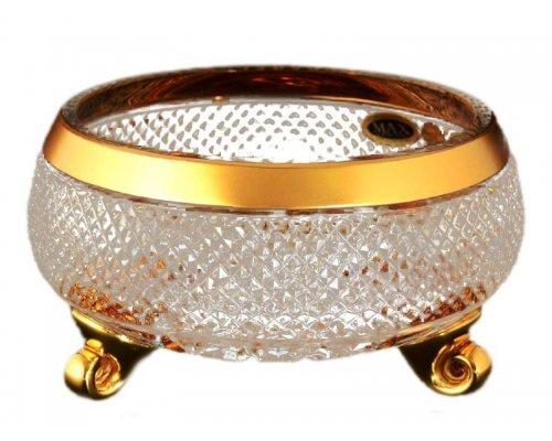 Ваза для конфет тройножка 20 см Max Crystal Золото Bohemia (Богемия)