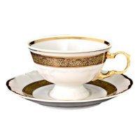 Набор чайных пар 220 мл Тхун (Thun) Мария Луиза Золотая лента (6 пар)