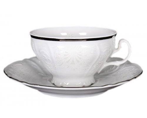Набор чайных пар Платиновый узор Bernadotte 220 мл (6 пар)