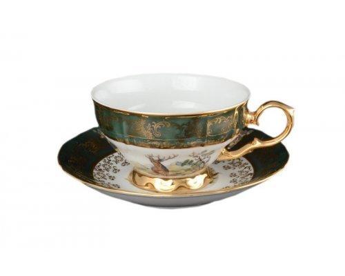 Набор чайных пар 230 мл Магнолия Охота Зеленая Старорольский Фарфор (MZ) (6 пар)