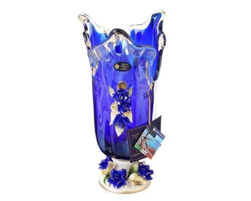 Ваза для цветов синяя White Cristal 37 см