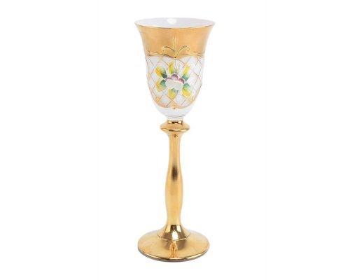 Набор рюмок для водки 60 мл Богемия Кристал (Bohemia Crystal) Лепка Белая U-R золотая ножка (6 шт)
