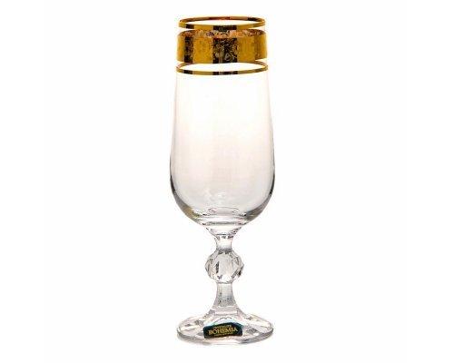 Набор фужеров для шампанского 180 мл Клаудиа Золото V-D Crystalite Bohemia (6 шт)