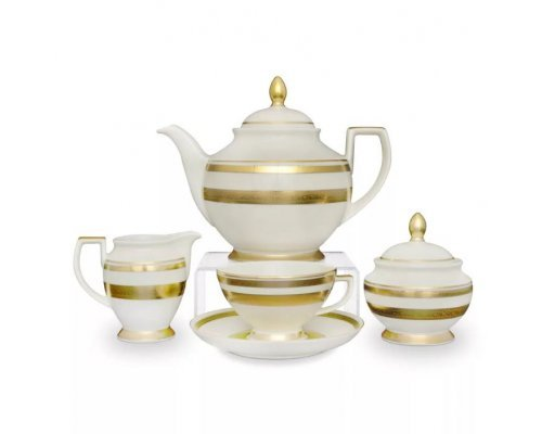 Чайный сервиз на 6 персон 17 предметов Falkenporzellan Cream Gold 9321