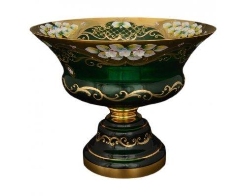 Фруктовница 30 см Bohemia (Богемия) Лепка Зеленая E-V