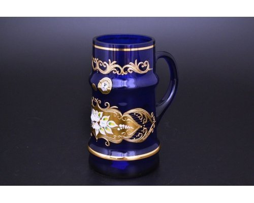 Пивная кружка 500 мл Bohemia (Богемия) Лепка Синяя E-V