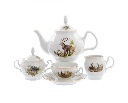 Чайный сервиз на 6 персон 17 предметов Бернадотт Охота