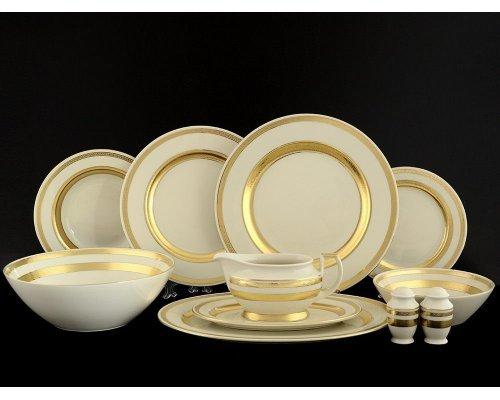 Столовый сервиз на 12 персон 43 предмета Falkenporzellan Cream Gold 9321