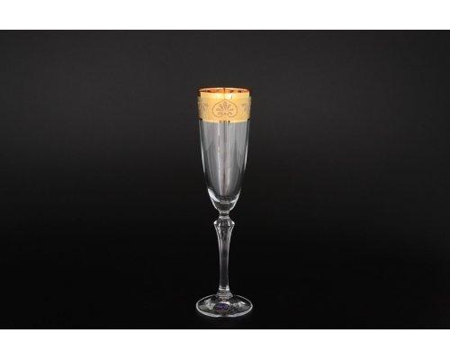 Набор фужеров для шампанского 200 мл Золото 6 штук Богемия Кристал (Bohemia Crystal)