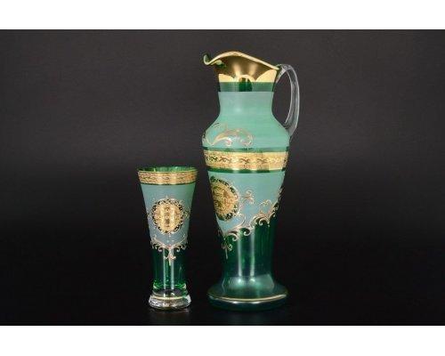 Набор для воды иксовка зеленая 7 предметов Версаче Богемия B-G фон Богемия Кристал (Bohemia Crystal)