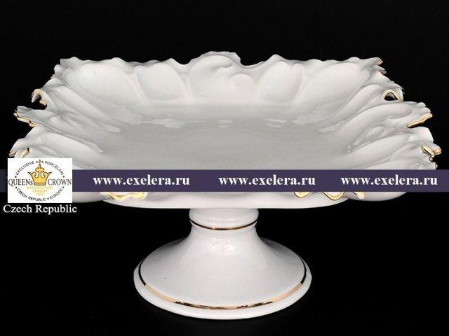 Блюдо фигурное квадратное 36 см на ножке Белый узор Корона Queens Crown