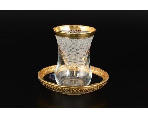 Набор армудов с блюдцами 6 шт Karo золото Богемия Кристал (Bohemia Crystal)