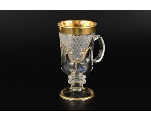 Набор кружек для воды 6 шт Karo золото Богемия Кристал (Bohemia Crystal)