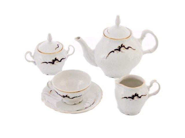 Чайный сервиз на 6 персон 15 предметов Бернадотт Синие вензеля