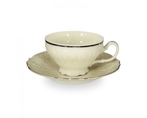 Набор чайных пар Платиновый узор Be-Ivory Bernadotte 220 мл (6 пар)