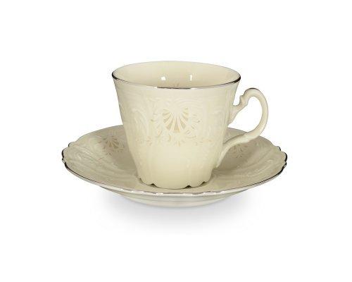 Набор чайных пар ведерка Платиновый узор Be-Ivory Bernadotte 200 мл (6 пар)