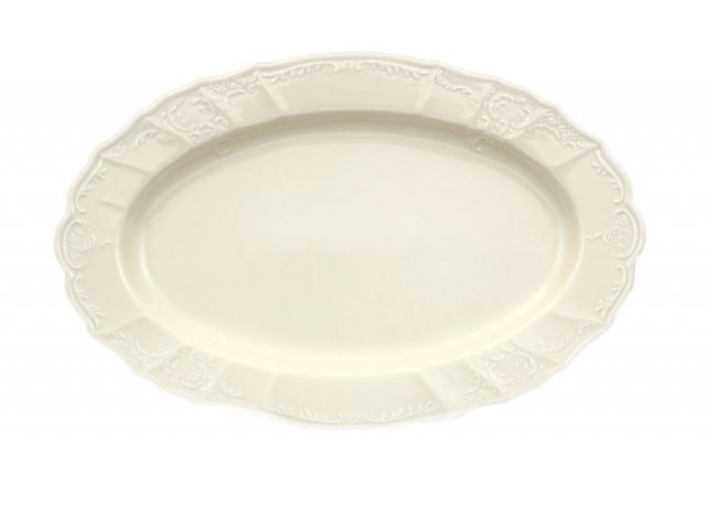 Блюдо овальное 36 см Бернадотт Белый узор BE-IVORY