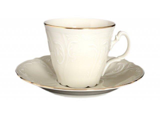 Набор чайных пар ведерка 200 мл Бернадотт Белый узор BE-IVORY (6 пар)