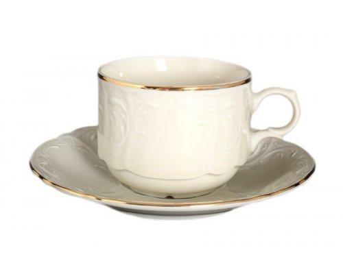 Набор чайных пар 250 мл Бернадотт Белый узор BE-IVORY (6 пар)