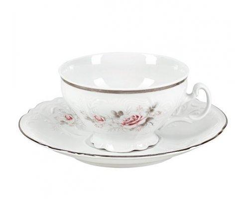 Набор чайный пар 220 мл Бернадотт Серая роза платина (6 пар)