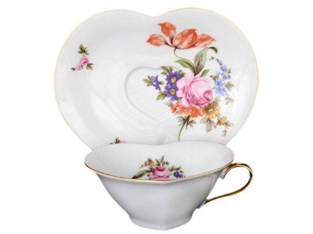 Чайная пара Сердце 150 мл Полевой цветок Корона Queens Crown