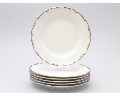 Набор тарелок 25 см Анжелика Отводка платина Старорольский Фарфор (MZ) (6 шт)