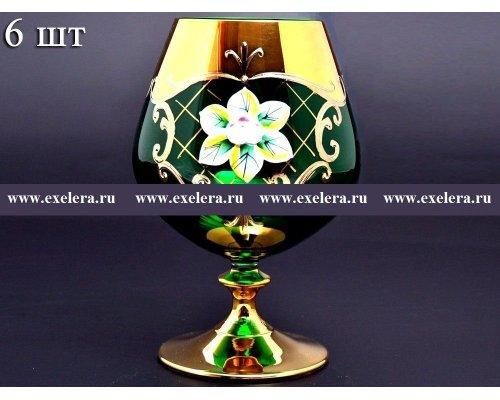 Набор бокалов для бренди 400 мл Богемия Кристал (Bohemia Crystal) Лепка Зеленая U-R золотая ножка (6 шт)