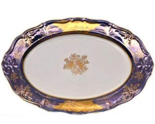 Блюдо овальное 36 см Мария Луиза Кленовый лист Синий Карлсбад (Carlsbad)
