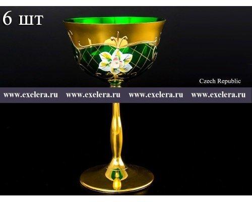 Набор бокалов для мартини 200 мл Богемия Кристал (Bohemia Crystal) Лепка Зеленая U-R золотая ножка (6 шт)