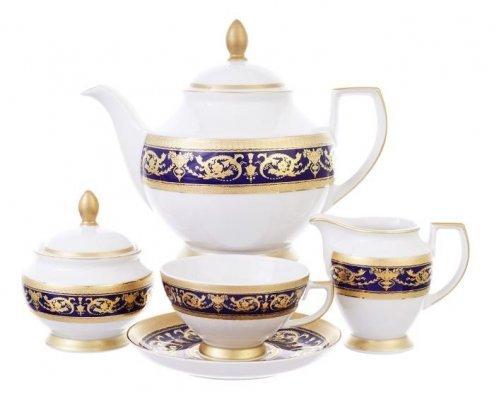 Чайный сервиз на 6 персон 17 предметов Falkenporzellan Imperial Cobalt Gold