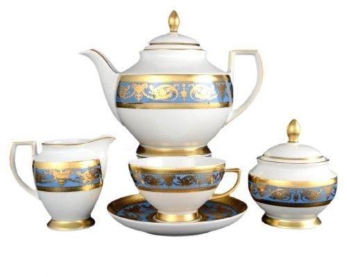 Чайный сервиз на 6 персон 17 предметов Falkenporzellan Imperial Blue Gold