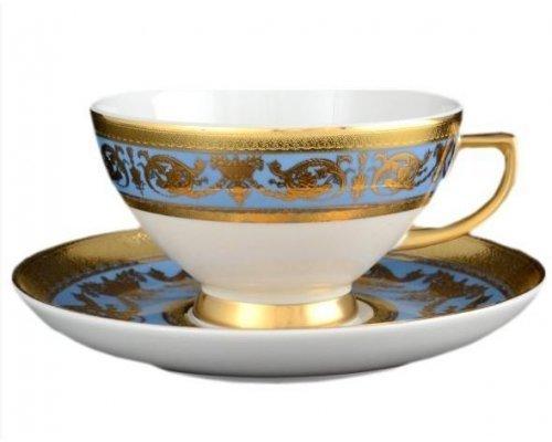 Набор чайных пар Falkenporzellan Imperial Blue Gold 220 мл (6 пар)