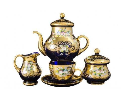 Чайный сервиз на на 6 персон 15 предметов Bohemia (Богемия) Лепка Синяя E-V