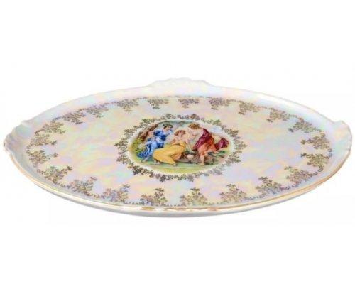 Блюдо овальное 37 см Мадонна перламутр Корона Queens Crown с волнистыми ручками