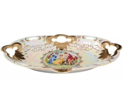 Блюдо овальное 37 см Мадонна перламутр Корона Queens Crown