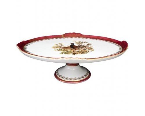 Блюдо овальное 37 см на ножке Охота красная Корона Queens Crown
