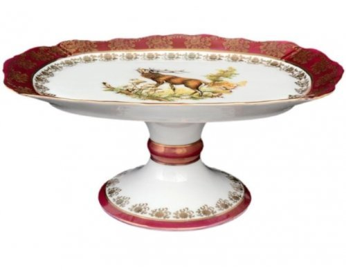 Блюдо овальное 25 см на ножке Охота красная Корона Queens Crown