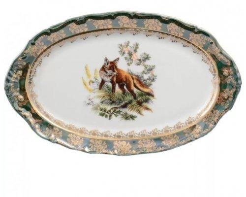 Блюдо овальное 25 см Охота зеленая Корона Queens Crown