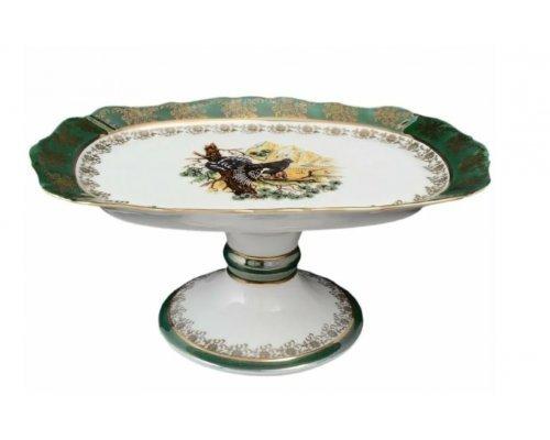 Блюдо прямоугольное 21 см на ножке Охота зеленая Корона Queens Crown