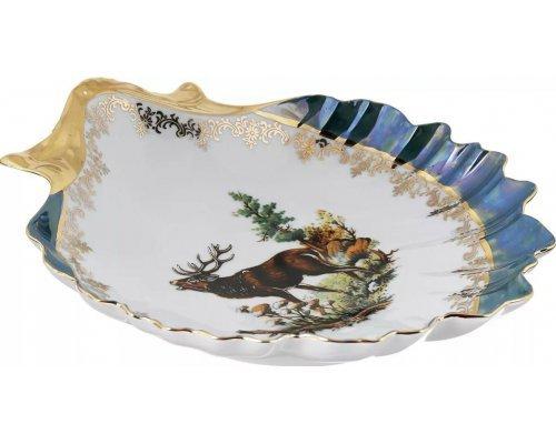 Блюдо ракушка 28 см Охота зеленая Корона Queens Crown