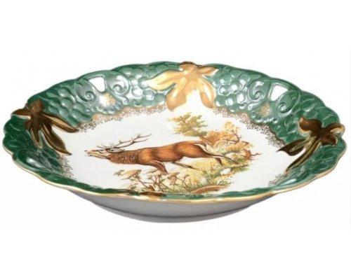 Блюдо круглое 30 см Охота зеленая Корона Queens Crown