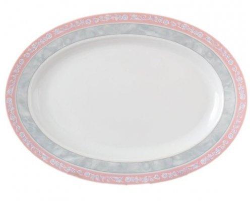 Блюдо овальное 24 см Тхун (Thun) Яна Серый мрамор с розовым кантом