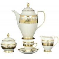 Кофейный сервиз на 6 персон 17 предметов Falkenporzellan Cream Gold 9320