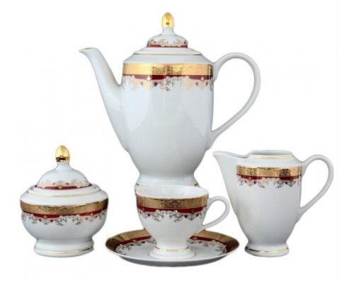 Кофейный сервиз 6 персон 17 предметов Тхун (Thun) Кристина Красная Лилия
