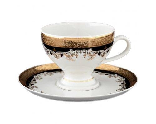 Набор чайных пар Thun Кристина Черная Лилия 230 мл (6 пар)