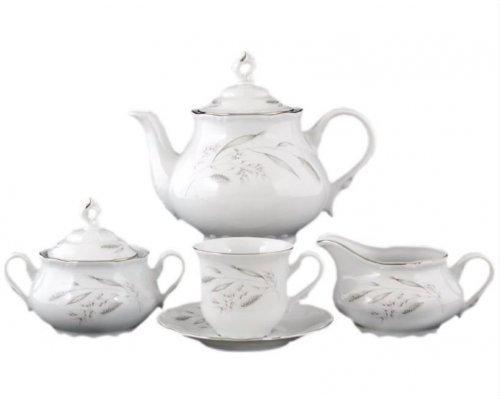 Чайный сервиз на 6 персон 17 предметов Тхун (Thun) Констанция Серебряные колосья