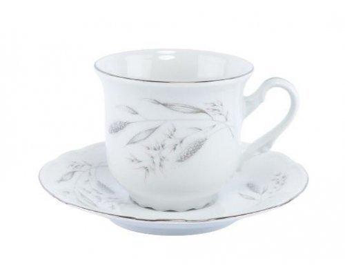 Набор кофейных пар Thun Констанция Серебряные колосья 160 мл (6 пар)